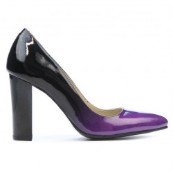Women stylish, elegant shoes 1261 patent purple+black