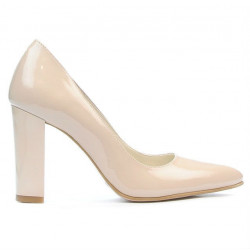 Women stylish, elegant shoes 1261 patent beige pearl