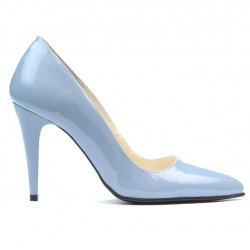 Women stylish, elegant shoes 1246 patent bleu