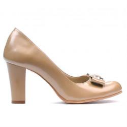 Women stylish, elegant shoes 1245 patent beige02