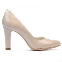 Women stylish, elegant shoes 1243 patent beige pearl