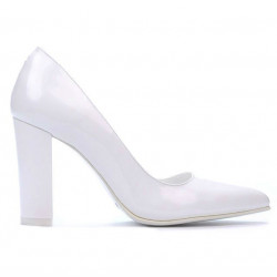 Women stylish, elegant shoes 1261 patent white