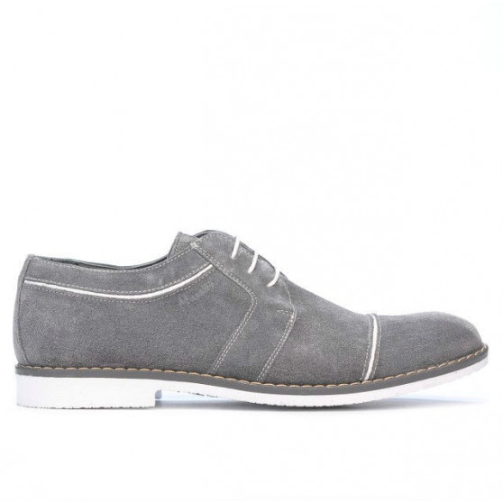 Men stylish, elegant, casual shoes 749 gray velour+white
