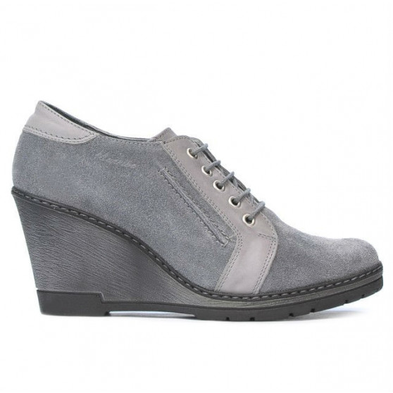 Pantofi casual dama 625 gri velur combinat