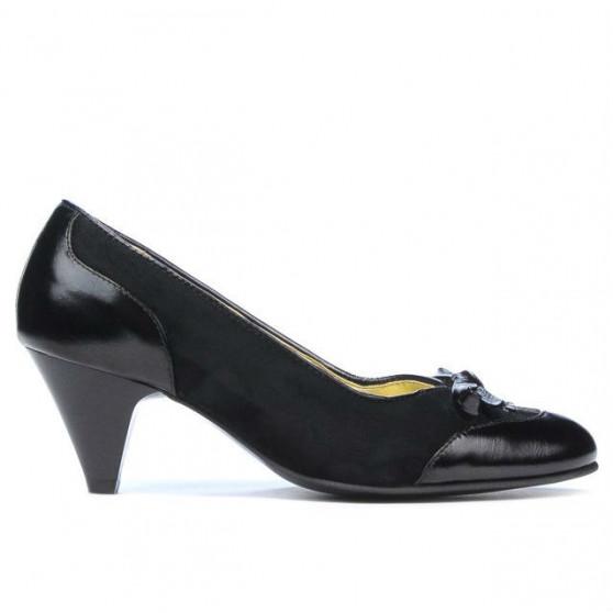 Pantofi eleganti dama 1064 lac negru+negru antilopa