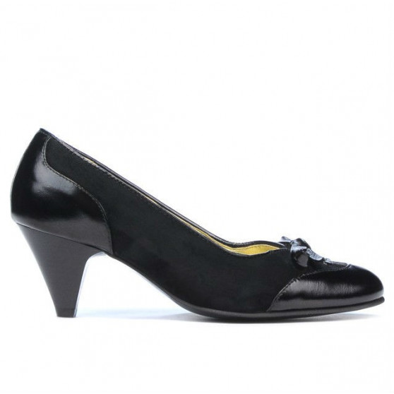 Women stylish, elegant shoes 1064 patent black+black antilopa