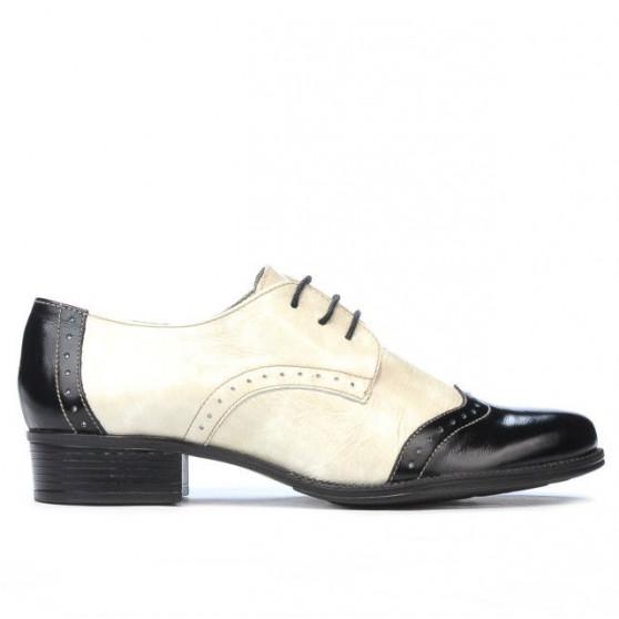 Women casual shoes 691 patent black+beige