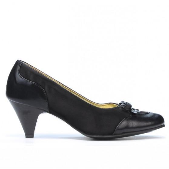 Women stylish, elegant shoes 1064 black+black antilopa
