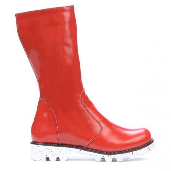 Children knee boots 3003 patent red
