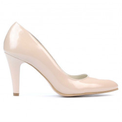 Women stylish, elegant shoes 1234 patent ivory