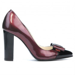 Pantofi eleganti dama 1262 lac bordo+negru