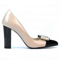 Women stylish, elegant shoes 1262 patent beige+black