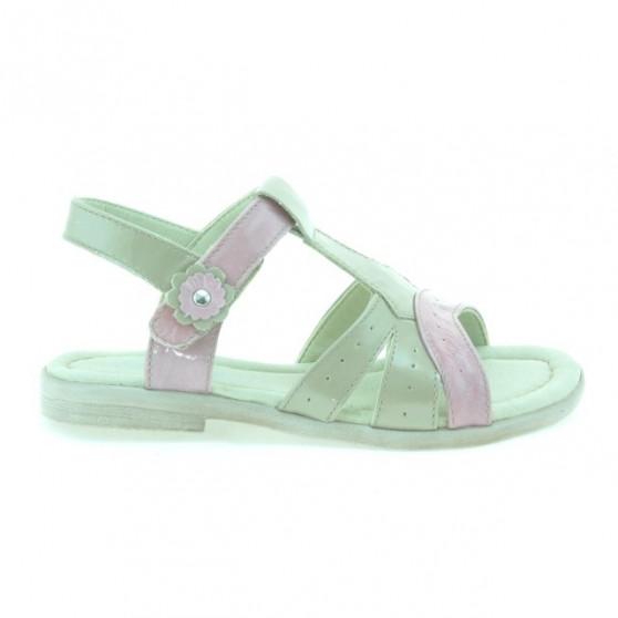 Sandale copii mici 18c lac bej+roz