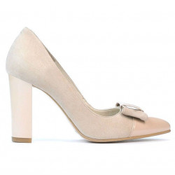 Women stylish, elegant shoes 1262 antilopa ivory combined