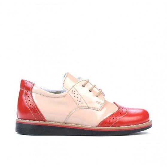 Pantofi copii mici 60c lac rosu+bej