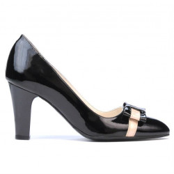 Women stylish, elegant shoes 1263 patent black+beige