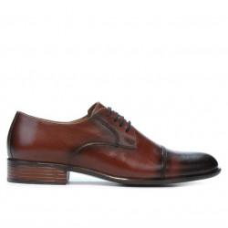 Men stylish, elegant shoes 838 a dark brown