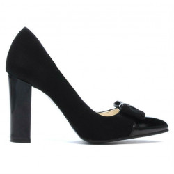 Women stylish, elegant shoes 1262 black antilopa combined
