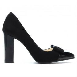 Women stylish, elegant shoes 1262 black antilopa combined