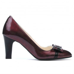 Women stylish, elegant shoes 1263 patent bordo+black