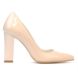 Women stylish, elegant shoes 1261 patent ivory