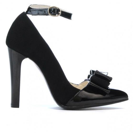 Pantofi eleganti dama 1264 negru antilopa+lac negru