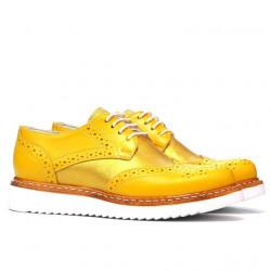 Pantofi casual dama 663-1 galben combinat