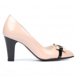 Women stylish, elegant shoes 1263 patent ivory+black