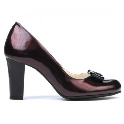 Women stylish, elegant shoes 1245 patent bordo+black