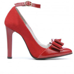 Women stylish, elegant shoes 1264 red antilopa+patent red