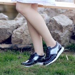 Pantofi sport dama 682 lac negru combinat