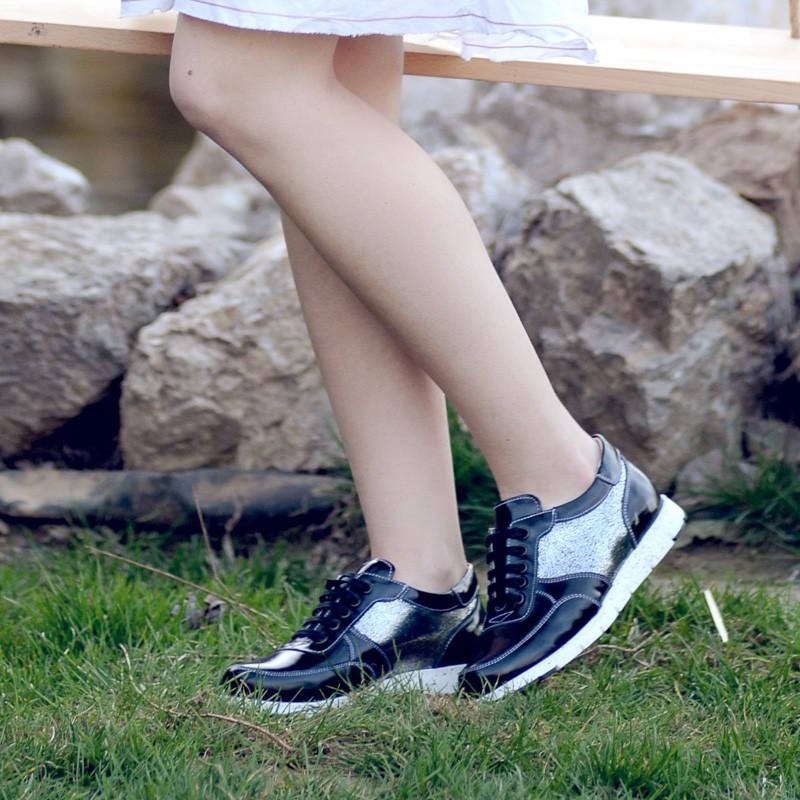 Pantofi sport dama 682 lac negru combinat lifestyle