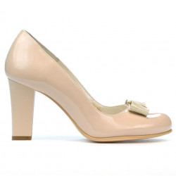 Women stylish, elegant shoes 1245 patent ivory combined