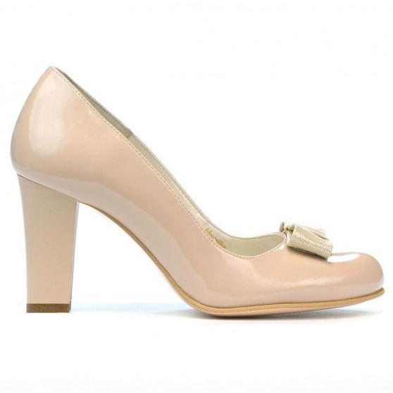 Women stylish, elegant shoes 1245 patent ivory combined