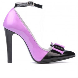 Women stylish, elegant shoes 1264 patent purple+black