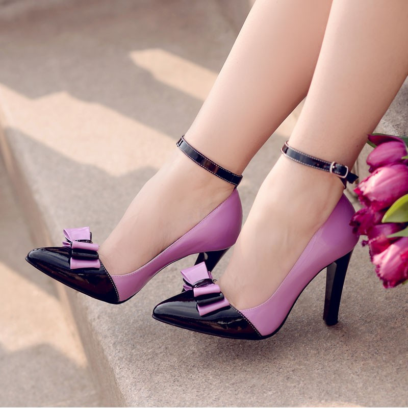 Pantofi eleganti dama 1264 lac mov+negru lifestyle
