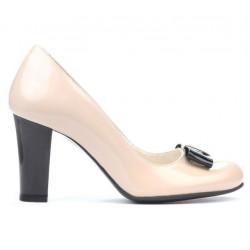 Women stylish, elegant shoes 1245 patent ivory+black