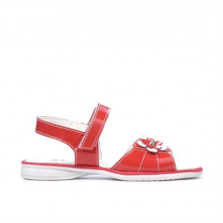 Small children sandals 55c patent red coral