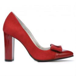 Pantofi eleganti dama 1262 rosu antilopa combinat