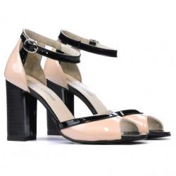 Women sandals 1266 patent ivory+black