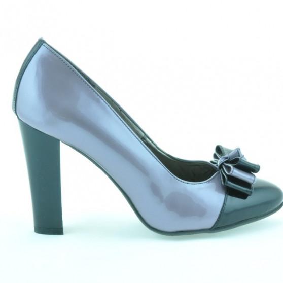 Pantofi eleganti dama 1226 lac mov deschis + negru