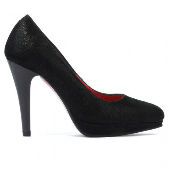 Women stylish, elegant shoes 1233 black satinat
