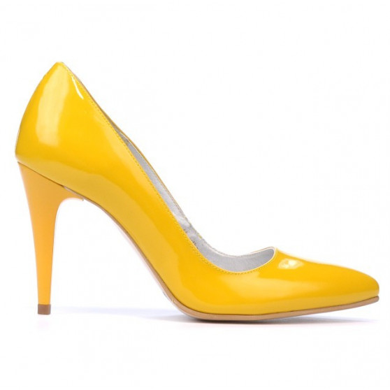 Women stylish, elegant shoes 1246 patent yellow
