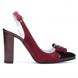 Women sandals 1267 bordo antilopa+patent bordo
