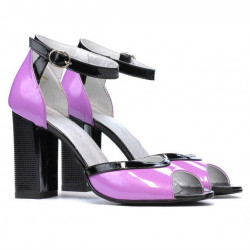 Women sandals 1266 patent purple+black