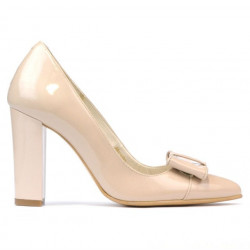 Women stylish, elegant shoes 1262 patent ivory