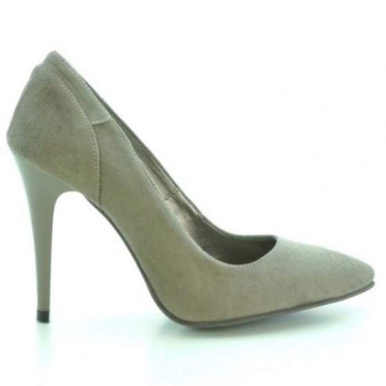 Women stylish, elegant shoes 1230 cappuccino antilopa