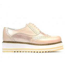 Pantofi casual dama 683-1 pudra combinat