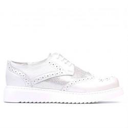 Pantofi casual dama 663-2 alb sidef combinat