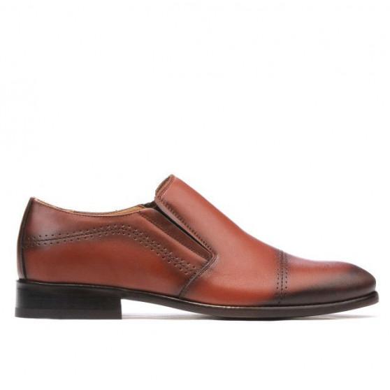 Men stylish, elegant shoes 877 a cognac